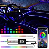 Car LED Strip Light,16 Million Colors RGB Interior Car Lights,5 in 1 with 236.22 inch Fiber Optic,Ambient Lighting Kits, RGB Music Sync Rhythm Sound Induction Function and APP Control