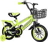 LIUXR Bicicletas Infantiles niña niño 2-13 años Freestyle 12 14 16 18 20 Pulgadas Ruedas auxiliares Bicicleta para niños,Green_16inch