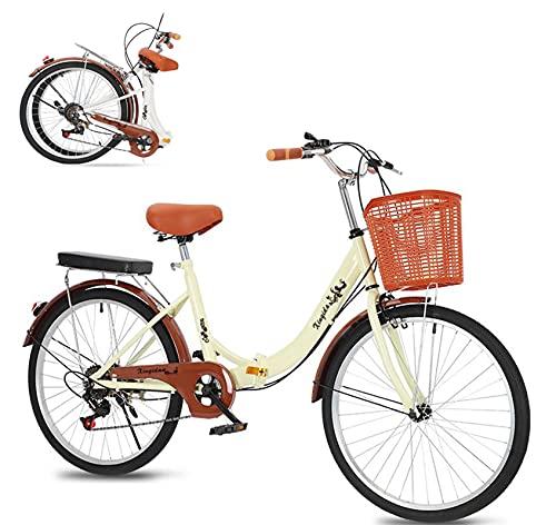 Bicicletta da donna,24 pollici da città da donna da uomo da città retrò vintage piega Bici da città,con cambio a 6 marce,luce posteriore, cestino,campana/Dal magazzino tedesco/colore: beige