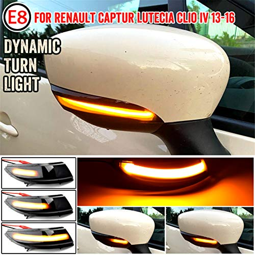 Dynamic LED Rearview Side Mirror Sequential Blinker Indicator Light Signal Lamp Compatible for Renault Captur Lutecia Clio IV (Smoked)