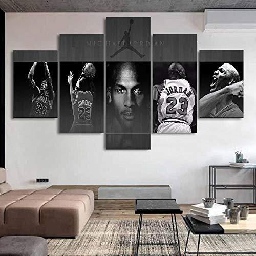 VENDISART,Leinwanddrucke,Modulare Wandkunst Wandaufkleber,5 Teiliges Wandbild,Superstar Michael Jordan Basketball,Mit Rahmen,Größe:M/B=150Cm,H=80Cm