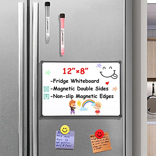 """Small Magnetic Whiteboard for Fridge,12'×8"""" Small Magnetic Dry Erase Board for Fridge Magnetic Whiteboard for Refrigerator/Kids/Office, Double-Sided Whiteboard with Magnetic Edges,2 Markers,2 Magnets"""