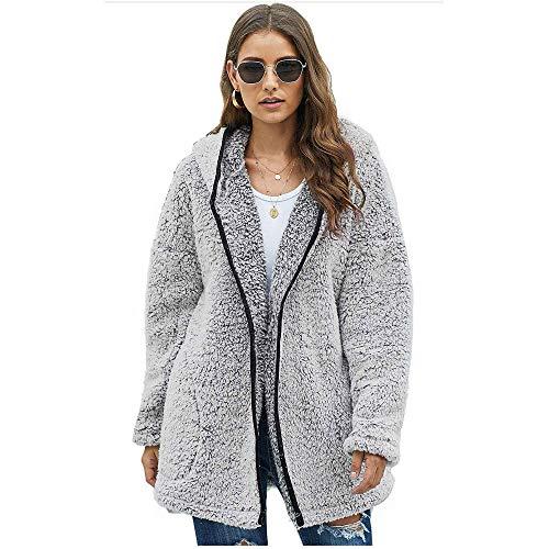 CRWOOL Abrigo de Mujeres Invierno Elegantes Slim Chaqueta Pullover Outwear Parka para Viajar, Esquiar y Caminar en Otoño e Invierno Gris S-2XL(crct040),DarkGrey,2XL