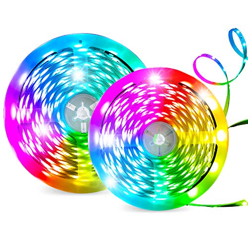 HueLiv 32.8ft LED Strip Lights Color Strips 5050 RGB LED Wireless Smart Wi-Fi App Control Works with Alexa Google Home, Music Sync for Home, Bedroom, TV, Kitchen and Party