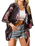 Camisola de Playa para Mujer Cardigan Corto Manga Media Pareos Cubrir Bikini Kimono Estampados de Flor Bikini Cover Up Protector Solar Traje de Baño de Playa para Chica (Flor 2, M)