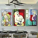 Pinturas abstractas en lienzo para mujer, estilo nórdico, cuadros artísticos de pared famosos de Picasso, carteles e impresiones para la decoración de la sala de estar