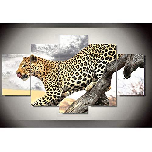 PULUKESns Poster su Tela Stampata in HD NESSUN Quadro Decorazione per la casa 5 Pezzi Leopardo Animale per Soggiorno Pittura di Arte della Parete Immagini modulari