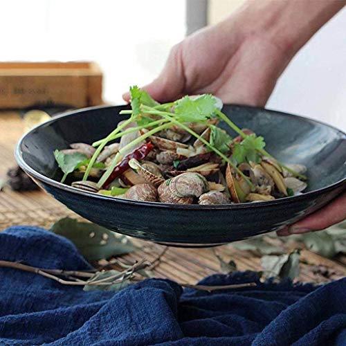 WYZXR Ensaladera de cerámica de 23,5 cm con boca grande creativa para restaurante cocina Ramen fruta comida occidental (verde oscuro)