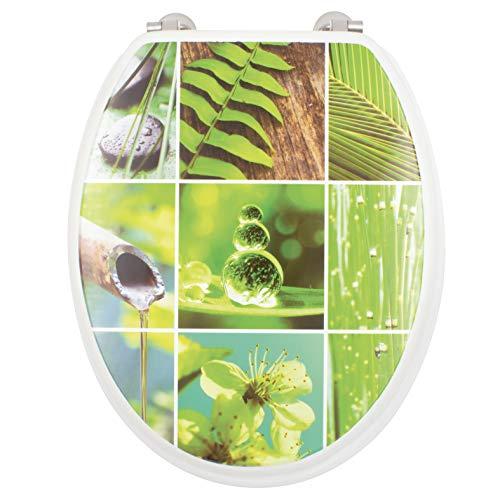 GELCO Design Abattant WC Bambou, MDF, Blanc et Vert, 46.5 x 37 x 5 cm