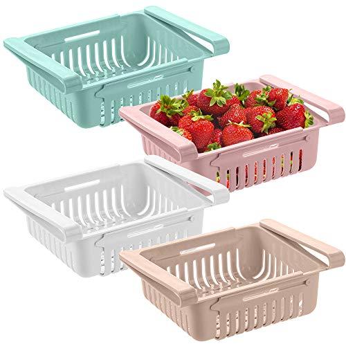 Vaschetta Frigorifero, cassetto per Frigorifero, vaschetta salvaspazio per Frigorifero, Organizer Porta Frutta frigo, ortaggi per conservare Gli Alimenti in Frigorifero (4 Pack)