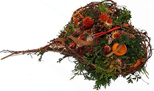 Halbares Gesteck von Flora Trans in Herz Form -Erinnerung im Herzen-