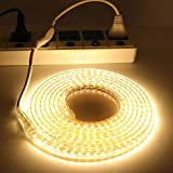 XUNATA LED Light Strip Kit, AC 110-130V Flexible Waterproof Rope Lights, 13ft 5050 60 LEDs/M for Indoor Outdoor Commercial Lighting Decoration, Accessories Included, Warm White