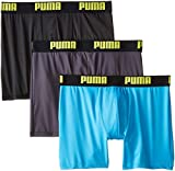 PUMA Men's 3 Pack Boxer Brief, Bright Blue, Medium