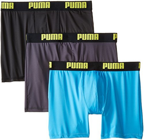 PUMA Men's 3 Pack Boxer Brief, Bright Blue, Large