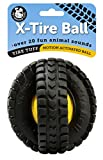 Pet Qwerks Animal Sounds X-Tire Ball Dog Toy - Rugged Tires with a Sound Ball in the Center, Interactive Toys that Make Noise, Treat Toys for Boredom | Best for LIGHT & MODERATE CHEWERS, Medium Dogs