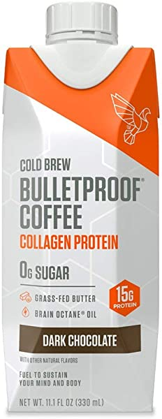 Bulletproof Cold Brew Coffee Plus Collagen Dark Chocolate Keto Friendly Sugar Free With Brain Octane Oil And Grass Fed Butter Dark Chocolate 12 Pack