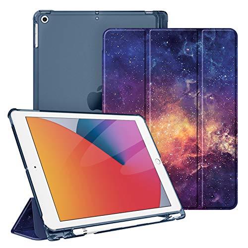 Fintie Hülle für iPad 8. Generation (2020) / 7. Gen (2019) 10.2 Zoll mit Pencil Halter, Superdünn Leichte Schutzhülle mit durchsichtiger Rückseite Abdeckung mit Auto Schlaf/Weck, Die Galaxie