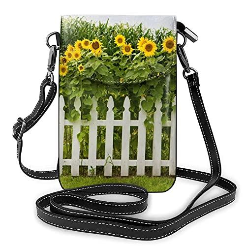 AOOEDM Crossbody Handy Geldbörse Sonnenblumen Weiß Lattenzaun Kleine Umhängetaschen Frauen Pu Umhängetasche Handtasche