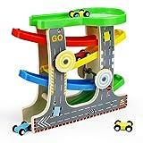 Symiu Rampe en Bois Voiture Enfant Circuit Toboggan Petite Voiture Course Jouet Bois pour Enfant Fille Garcon 3 4 5 Ans