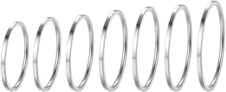 PROSTEEL 7-28Pcs Rings Set, 1mm Stainless Steel Rings, Men's Women's Plain Band Knuckle Stacking Midi Rings Comfort Fit, Silver/Gold/Rose Gold/Black Tone, Multi Size #4-#10