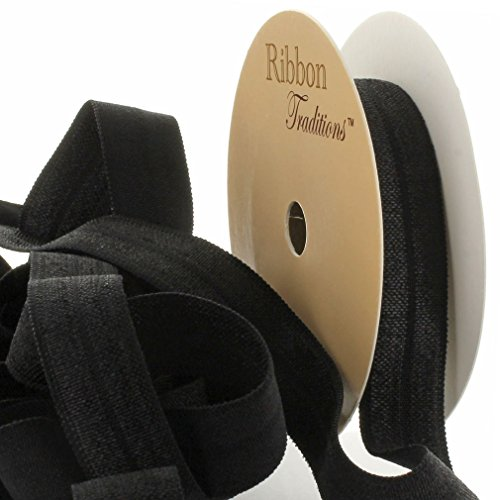 "3/8"" Fold Over Elastic Black 25 Yard"