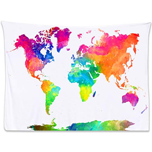 World Map Tapestry Watercolor Tapestry Map - Tapestry of the World Light Pink Blue White Tapestry World Map. Colorful Decorative Wall Hanging Earth Globe Tapestries Dorm Bedroom Travel Classroom Decor 80x60