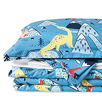 Bedsure Kids Full Size Bedding Sets for Boys Dinosaur Bedding 7 Pieces Bed in a Bag Easy Care Super Soft Comforter and Sheets Set  Blue,Full/Queen