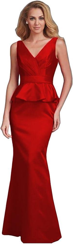 Honeydress Women's Sleeveless Mermaid Evening Dresses Peplums Long Prom Gowns