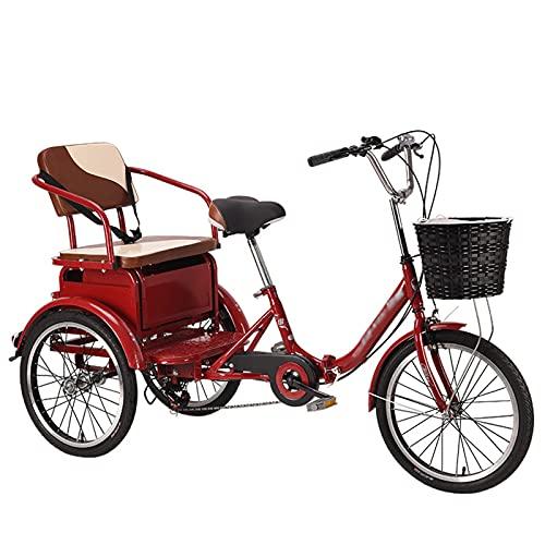 Triciclo per Adulti 20 Pollici Adulto Tricycle 6 Velocità Bicicletta Per Adulti Con Cestino Della Spesa Tre Ruote Cruiser Bike Per I Genitori Per Ritirare E Lasciare Cadere I Bambini Carico 250kg