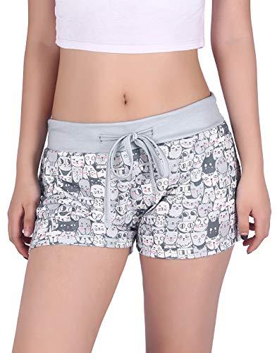 HDE - Pantalones cortos de pijama para mujer con diseño de cintura ancha y estampado de yoga, Miles gatos, M