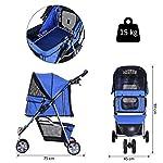 PawHut Pet Travel Stroller Cat Dog Pushchair Trolley Puppy Jogger Carrier Three Wheels (Blue) 14