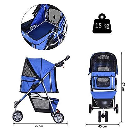 PawHut Pet Travel Stroller Cat Dog Pushchair Trolley Puppy Jogger Carrier Three Wheels (Blue) 5
