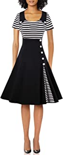 Wellwits Women's Vintage Pin Up A Line Stripes Sailor Dress