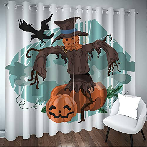 FACWAWF Cortinas De Halloween para El Hogar Simples 3D Patrón De Lámpara De Calabaza Extraña Sala De Estar Balcón Decoración De Dormitorio Patrón Cortinas Opacas para Habitación De Niños 2xW75
