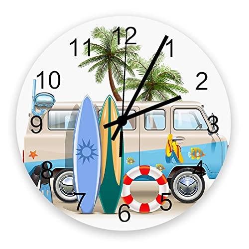 Reloj de pared con tabla de surf para acampar con dibujos animados, silencioso, sin tictac, 10 pulgadas, relojes de pared redondos con pilas para dormitorio, sala de estar, oficina, escuela, decoració