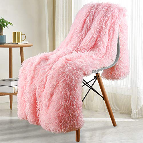 Noahas Shaggy Longfur Throw Blanket with Sherpa Warm Underside Super Soft Cozy Large Plush Fuzzy Faux Fur Blanket Hypoallergenic and Washable Kids Girls Room Decorative Blanket 50x60 Light Pink