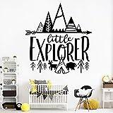 yaonuli Adhesivos de Vinilo escandinavo Little Explorer decoran calcomanías de Pared de Aventura para Habitaciones infantiles58X61cm