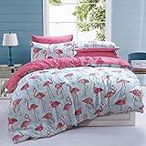 Sleepdown Flamingo Stripe Bettwäsche-Set für King-Size-Betten, Baumwolle, Mehrfarbig