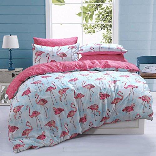 Sleepdown Flamingo-Streifen-Bettbezug-Set aus Baumwollmischgewebe, pflegeleicht, antiallergisch, weich und glatt, Flamingo-Streifen-Bettbezug-Set mit Kissenbezügen, Flamingo-Streifen (Einzelbett)