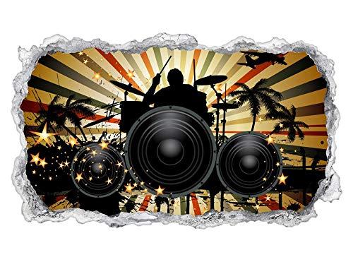 3D Wandtattoo Schlagzeug Musik Wand Aufkleber Wanddurchbruch sticker Wandbild Kinderzimmer 11U617, Wandbild Größe F:ca. 162cmx97cm
