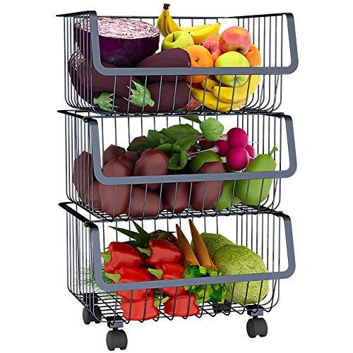 Arkmiido Küche Rollwagen Gemüse Regal Gemüsekorb 3Etagen,41.5 * 35 * 60cm (Edelstahl
