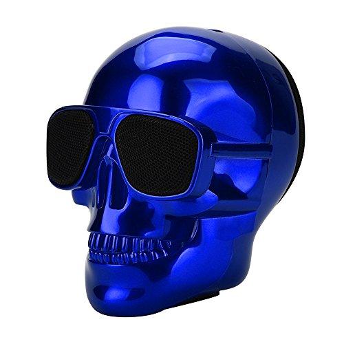 Altavoz Bluetooth con Cabeza de Calavera galvanizada,Altavoces para el Exterior,Altavoces portátiles Bluetooth,Altavoz Inteligente,Sonido Estéreo (Azul)