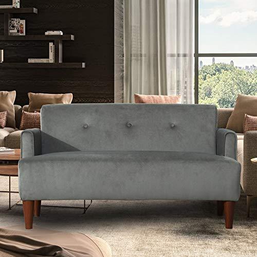 DADEA 2 Sitzer, Retrosofa, Linen Cloth Flannelette-Stoff; Sofa mit Holzfüßen; Geeignet für Hause, Wohnzimmer, Lounges, atmungsaktives und weiches Zweisitzer-Sofa