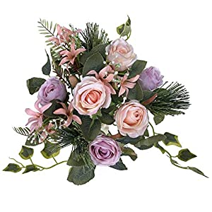 LA.PONEE Fake Roses Flowers – A Bouquet of Artificial Flowers for Wedding Decoration, Silk Flowers with Stems, Floral Centerpieces for Tables, Faux Spring Floral Arrangements (Purple)
