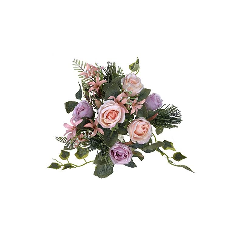 silk flower arrangements la.ponee fake roses flowers - a bouquet of artificial flowers for wedding decoration, silk flowers with stems, floral centerpieces for tables, faux spring floral arrangements (purple)
