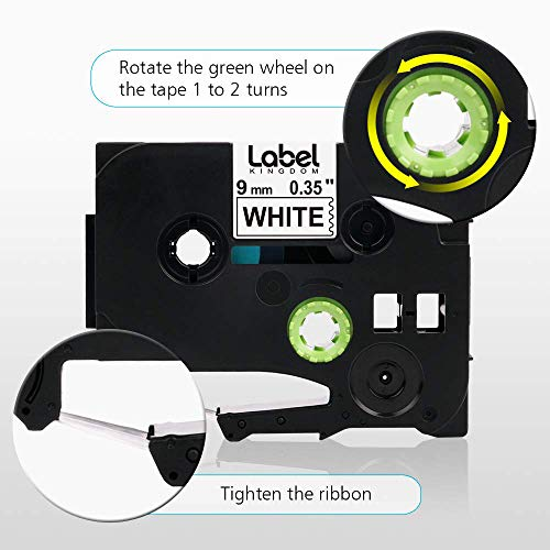"""Label KINGDOM Compatible Label Tape Replacement for Brother Ptouch 9mm 3/8"""" TZe-221 Black on White Label Maker Tape, 0.35 Inch x 26.2 Feet Laminated TZe TZ Tape for PT-D200 PT-D210 PT-H110, 5-Pack Photo #7"""