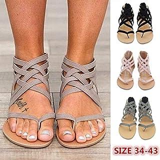 Summer Women's Flat Sandals Boho Ankle Cross Strap Zipper Shoes Beach Flip Flops Size 34-43(Pink,5.5)