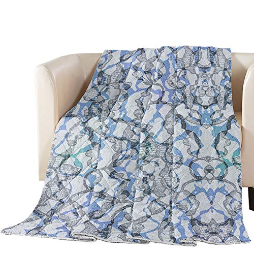 Buy Luck Sky Premium Coverlet Diamond Stitched QuiltedKing Size Retro Texture Undertint Blue and Gre...