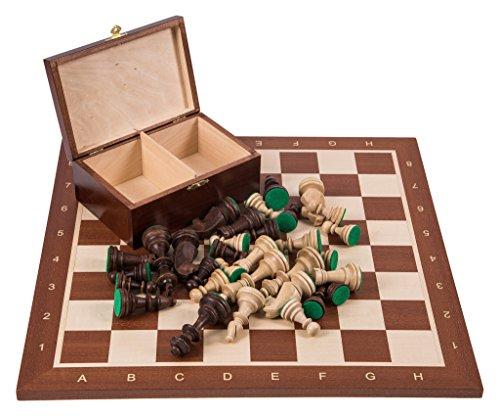 Square - Pro Schach Set Nr. 6 Mahagoni - Schachbrett + Schachfiguren Staunton 6 + Kasten - Schachspiel aus Holz