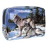Bolsa de Maquillaje para niños Bosque de Nieve de Lobo Accesorio de Viaje Neceser Pequeño Bolsas de Aseo Impermeable Cosmético Organizadores de Viaje 18.5x7.5x13cm